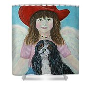 Lily Little Angel Of Self Empowerment Shower Curtain by The Art With A Heart By Charlotte Phillips