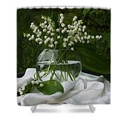 Lily-of-the-valley Bouquet Shower Curtain by Luv Photography