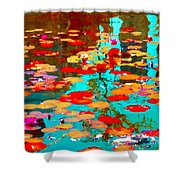 Lily Pads And Koi Colorful Water Garden In Bloom Waterlilies At The Lake Quebec Art Carole Spandau  Shower Curtain