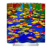 Lily Pads And Koi  Pond Waterlilies Summer Gardens Beautiful Blue Waters Quebec Art Carole Spandau  Shower Curtain