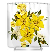 Lily Triplets Shower Curtain