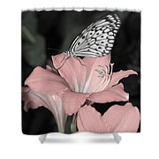 Lily With Butterly  Shower Curtain