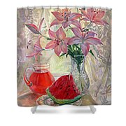 Lily With Watermelon Shower Curtain