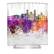 Limassol Skyline In Watercolor Background Shower Curtain