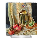 Lime And Apples Still Life Shower Curtain