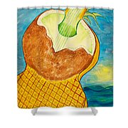 Lime Coconut Pineapple Guitar Shower Curtain