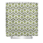 Lime Green And White Vines Shower Curtain