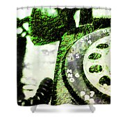 Lime Rotary Phone Shower Curtain