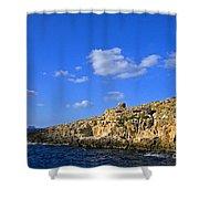 Limestone Rock, Mediterranean Sea, Malta Shower Curtain