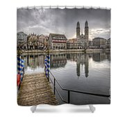 Limmat River Reflections Shower Curtain