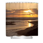 Lincoln City Sunset Shower Curtain by John Daly