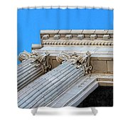 Lincoln County Courthouse Columns Looking Up 01 Shower Curtain
