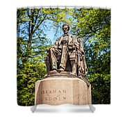 Lincoln Head Of State Statue In Chicago Shower Curtain