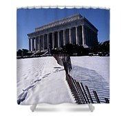 Lincoln Memorial In The Snow Shower Curtain