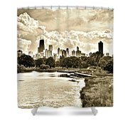 Lincoln Park View Sepia Shower Curtain