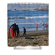 Linda Mar Beach Families Shower Curtain