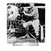 Lindbergh Tunes Up Plane Shower Curtain