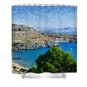 Lindos Beach Shower Curtain