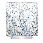 Line Forest Shower Curtain