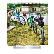 Line Of Bicycles In Park Shower Curtain