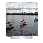 Line Of Boats On The Charles River Shower Curtain