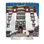 Line Of Pilgrims And Tourists Entering Former Living Quarters Of Dalai Lama In Potala Palace-tibet Shower Curtain