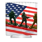 Line Of Toy Soldiers On American Flag Crisp Depth Of Field Shower Curtain