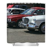 A Line Up Of Vintage Cars Shower Curtain