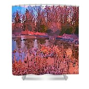 Linear Abstraction Of Pond Shower Curtain