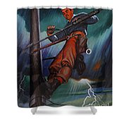 Lineman In Storm Shower Curtain