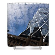 Lines Triangles And Cloud Puffs - Hearst Tower In New York City Shower Curtain