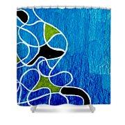 Linework Blue Shower Curtain