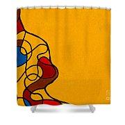 Linework Yellow Shower Curtain