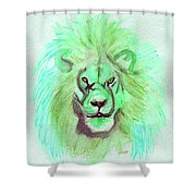 Lion Blue By Jrr Shower Curtain