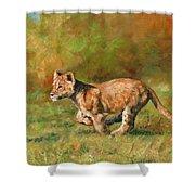 Lion Cub Running Shower Curtain