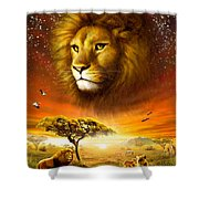 Lion Dawn Shower Curtain by Adrian Chesterman