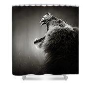 Lion Displaying Dangerous Teeth Shower Curtain by Johan Swanepoel