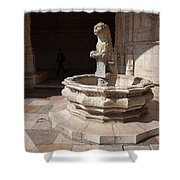 Lion Fountain Jeronimos Monastery In Lisbon Shower Curtain