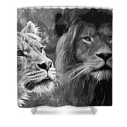 Lion Pair Black And White Shower Curtain