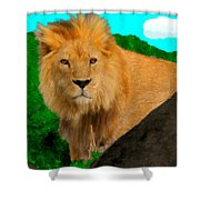 Lion Prowling Shower Curtain