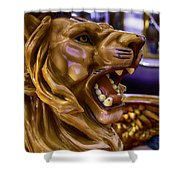 Lion Roaring Carrousel Ride Shower Curtain