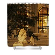 Lion Statue In New York City Shower Curtain