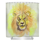 Lion Yellow Shower Curtain