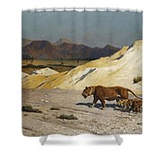 Lioness And Cubs Shower Curtain by Jean Leon Gerome