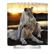 Lioness Protector Shower Curtain
