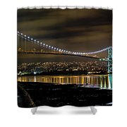 Lions Gate Bridge At Night Shower Curtain