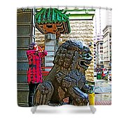 Lions Roar At Entry Gate To  Chinatown In San Francisco-california  Shower Curtain