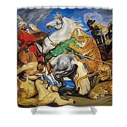 Lions Tigers And Leopard Hunt Homage To Rubens Shower Curtain