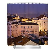 Lisbon At Night In Portugal Shower Curtain