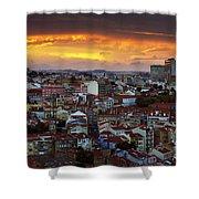 Lisbon At Sunset Shower Curtain by Carlos Caetano